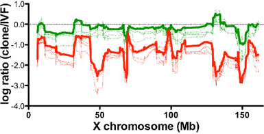 The relative expression levels of X-linked genes plotted on the X chromosome position